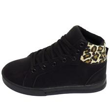 GIRLS KIDS CHILDRENS BLACK LEOPARD LACE TRAINERS FLAT BOOTS SHOES SIZES UK 10-5