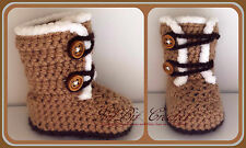 Hand Knitted / Crochet Snowy Baby Boots / Booties / Shoes / Pram Shoes