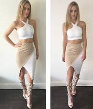 """jaide"" Bianco / Color Cammello Wrap 2-Piece co-ord Set Crop Top & Gon na Taglie 6-16 NUOVO"