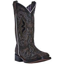 Laredo Womens Black Leather Spellbound Square Toe 11in Stitch Cowboy Boots