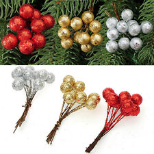10X Christmas Xmas  Ear Leave Party Tree Fruit Ball Holiday Decoration Ornament