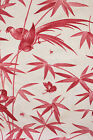 antique French cafe length curtains cotton red + pink c1870 fabric bird / insect
