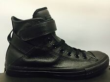 WOMENS CONVERSE NEW CHUCK TAYLOR BREA HI TOP ALL BLACK LEATHER SNEAKERS 549583C