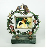 "JAY STRONGWATER LOVE BIRDS FRAME ON MARBLE SWAROVSKI NEW 3"" x 4"" PHOTO $1900 BOX"