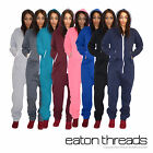 Unisex Mens Womens Hooded Zip Onesie Playsuit Ladies All In One Piece Jumpsuit