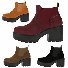 CHILDRENS GIRLS MID CHUNKY BLOCK HEEL CHELSEA ANKLE BOOTS SHOES SCHOOL SIZE NEW