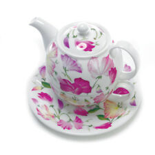 Roy Kirkham Sweet Pea Pink Flowers Tea for One Teapot Cup Saucer Bone China Gift