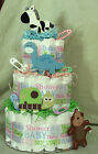 3 Tier Diaper Cake Zoo Safari Jungle Animals Baby Shower Centerpiece