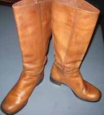 "GIANNI BINI COWBOY, RIDING OR KNEE BOOTS 14"" HIGH ROUND TOE BROWN SIZE 6 M"
