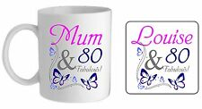 Personalised fabulous butterfly 80th happy birthday mug/coaster present gift