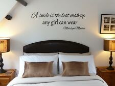A smile is the best makeup any girl can wear Marilyn Monroe Wall Art Sticker