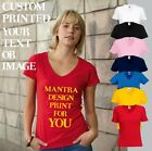 T-Shirts Ladyfit Veck Custom Printed with YOUR ~ Personalised Logo/Txt/Name