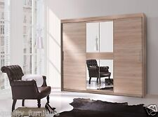 Brand New Modern 2 Door Sliding Wardrobe Mirror 3 Hanging Rails 6 Shelves 240cm
