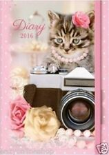 A6 2016 Hard Back Chunky Pocket Diary Day A Page Pug Kittens Retro Vintage
