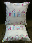 "beach hut fabric,Blues,pinks, Greens Pastel Shabby chic,16""cushion cover Fryetts"