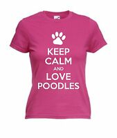 KEEP CALM AND LOVE POODLES T-SHIRT Christmas Present Gift Adults Kids Dog Pet