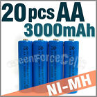 20 pcs AA 2A LR6 3000mAh 1.2V Ni-MH rechargeable battery Cell For Toy/RC Blue