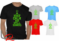 Mens Zombie Slaying Slogan T-Shirt - funny  KEEP CALM AND KILL ZOMBIES