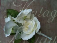 IVORY ROSES PEARLS GOLD CORSAGE BUTTONHOLES GROOM BRIDE WEDDING FLOWERS