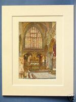 THE SANCTUARY EXETER CATHEDRAL VINTAGE DOUBLE MOUNTED HASLEHUST PRINT c1920 10X8