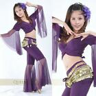 Belly Dance Costume Flared Top and Flared Pants 9 Colors