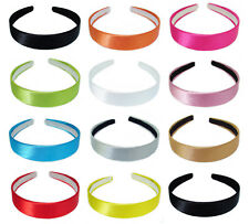 NEW 2.5cm WIDE SATIN LOOK FABRIC COVERED ALICE HAIR HEAD BAND HEADBAND ALICEBAND