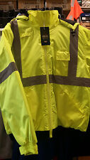 ANSI Class 3 Lime Bomber Jacket with Detachable Hood