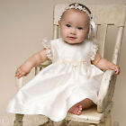 "Baby Beau & Belle ""Leila"" Girls Ivory Silk Christening, Baptism, Blessing Dress"