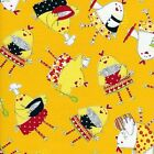 1/4 yd Patchwork Fabric Timeless Treasures C7583 Kitchen Chicks on Yellow fq
