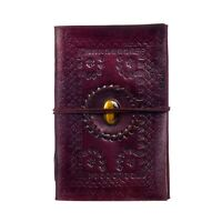 Indra Fair Trade Handmade XL Embossed Stoned Leather Journal Notebook Diary