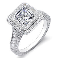 2.31 Ct Asscher Cut w/ Round Cut Dual Halo Diamond Engagement 14K Ring F,VS2 GIA