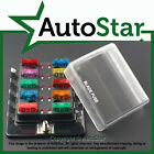 10 Way Blade Fuse Box Positive Bus in 12v LED WARNING Kit Car Boat Marine Trike