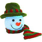 13cm Colour Changing Light Up Hanging EVA Snowman Head With Green Hat Decoration