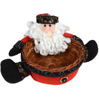 "6.5"" Christmas Santa Claus Candy Sweet Wicker Basket Festive Table Decoration"