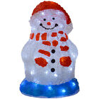 30cm White LED Light Up Cute Snowman With Red Hat Christmas Festive Decoration