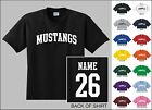 Mustangs Custom Name & Number Personalized Youth Jersey T-shirt