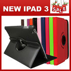 The New iPad 3, 2 360° Rotate Smart Leather Cover Case Stand Auto Sleep Wake up