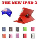 Red Smart Leather Cover Case Stand 360°Rotate For the new iPad iPad3 iPad2