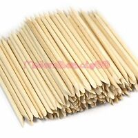 50 Pcs ORANGE WOOD STICK PUSHER PEDICURE REMOVER Cuticle Manicure NAIL ART Tools