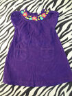 GIRLS SIZE 18 MONTHS PURPLE CORDUROY DRESS EMBROIDERED BRIGHT FLOWERS SHORT SLVS