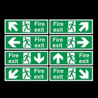 FIRE EXIT SIGNS PLASTIC RIGID SIGN 300x100mm DOUBLE SIDED *CHEAP*