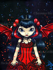 Jasmine Becket-Griffith art BIG print SIGNED Fairy in a Red Dress gothic bat pop
