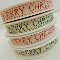 per 3 metres green or red textured Merry Christmas ribbon 15mm wide