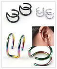 16G Stainless Steel Double Closure Fake Cartilage Clip On Ear Cuff Earring Helix