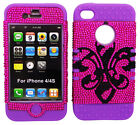 Black Diamond Saints on Pink Purple Hybrid Case Cover for Apple iPhone 4 4S 4GS