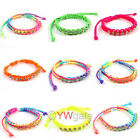 6pcs Mixed Lots Crystal Rhinestone Friendship Lucky Cords Bracelet 260606