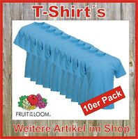 10 x T-Shirt Set Fruit of the Loom Super Premium Qualität hellblau S M L XL XXL