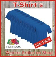 10 x T-Shirt Fruit of the Loom Super Premium Qualität Bundle blau S M L XL XXL