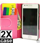 2 xPink Samsung Galaxy S2 i9100 Credit Card Wallet Flip Leather Pouch Case Cover
