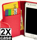 2 x Red Samsung Galaxy S2 i9100 Credit Card Wallet Flip Leather Pouch Case Cover